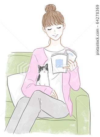 책을 읽는 여자와 고양이 64278369