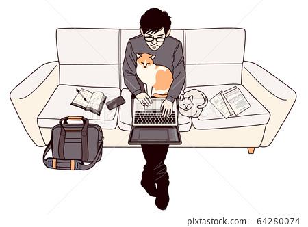 和貓一起在房子里工作 64280074
