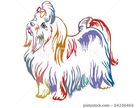 Colorful decorative standing portrait of Maltese 64280468
