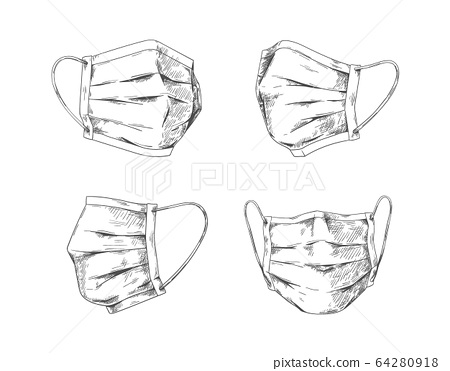 Breathing masks. Hand drawn medical face mask, flu pneumonia and coronavirus protection and prevention. Vector doodle respiratory mask 64280918