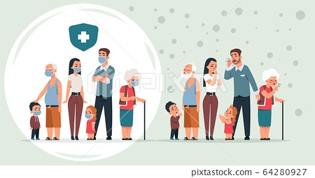 Sick and healthy family. Cartoon healthy and ill characters with symptoms of coronavirus, pneumonia and flu prevention concept. Vector people in medical masks 64280927