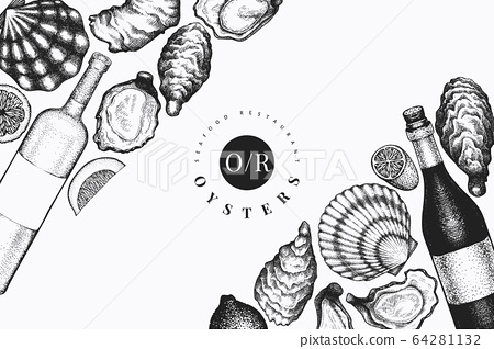 Oysters and wine design template. Hand drawn 64281132