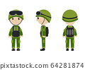 Cartoon character of the worker, soldier, construction worker. The guy in the form of talisman. Worker, builder, soldier mascot logo. illustration. 64281874