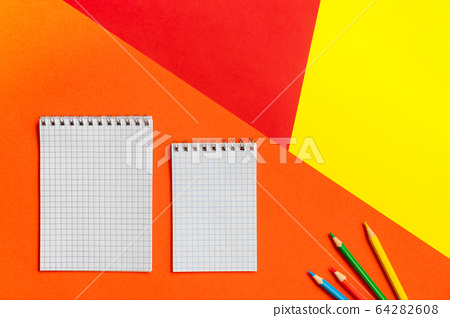 Top view of office tools with blank notebook on 64282608