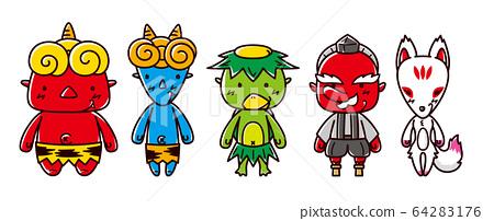 日本怪物的插圖/ Oni / Kappa / Tengu / Fox 64283176