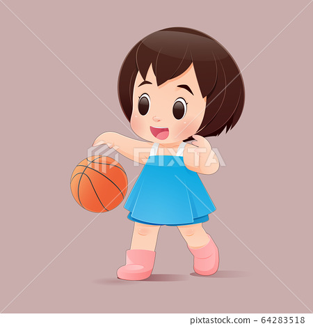 Cute little girl playing basketball in a pink dress 64283518