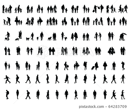 Black silhouettes of people walking, illustration on a white background 64283709