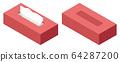 Red isometric flat design tissue paper illustration 64287200