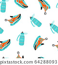 Seamless pattern with sport water bottle  64288093