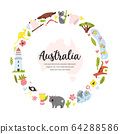 Tourist poster with symbols, animals of Australia 64288586