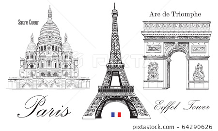 Vector Eiffel Tower, Triumphal Arch and Sacre 64290626