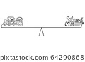 Vector Cartoon Illustration of Food and Gold and Wealth on Balance Scales During Crisis. You Can't Eat Money. 64290868