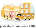 Children Get on Bus at School, Transportation. 64291980