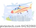 Sightseeing Helicopter Tour Over City, Cartoon. 64292060