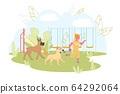 Joyful Kid Playing Run Away from Two Dogs in Yard 64292064