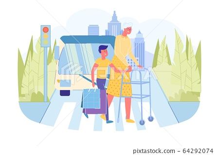 Boy Helps Old Grandmother with Walker Cross Road 64292074