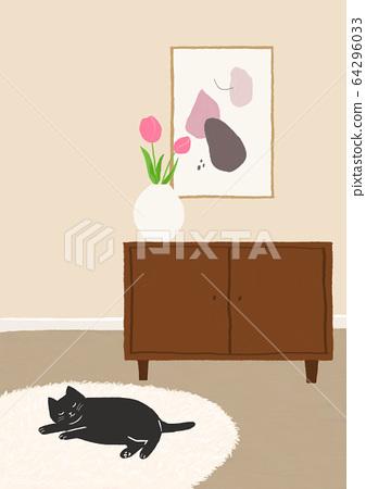 러그 위에서 낮잠자는 검은고양이 64296033