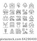 Park icon set. outline vector illustration 64296400