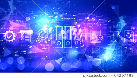 Compliance theme with technology light background 64297495