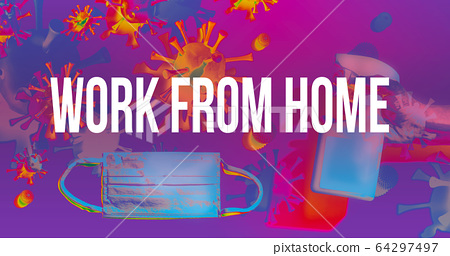 Work From Home theme with face mask and spray bottle 64297497