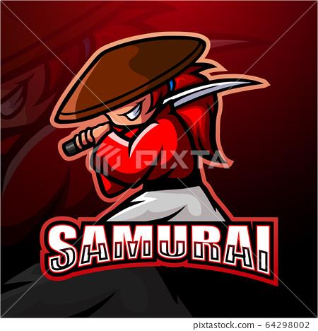 Samurai mascot esport logo design 64298002