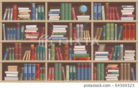 木製書架兩旁的書 64300323