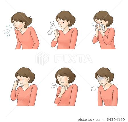 疾病症狀組1(打噴嚏,咳嗽,流鼻涕,眼睛發癢,懶惰) 64304140