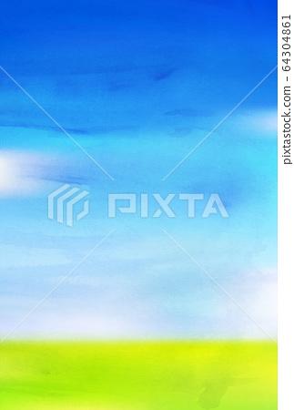 草地的天藍色水彩背景 64304861