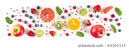 Fresh summer fruit panorama, a flat lay on a white background, vibrant food pattern, shot from the top 64305115