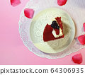 strawberry cake on a white plate  64306935