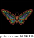 The Vector logo butterfly for tattoo or T-shirt design or outwear.  64307436