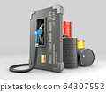 3d Rendering of Realistic credit with fuel hose petrol station concept, clipping path included 64307552