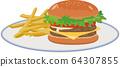 漢堡和薯條的圖像插圖 64307855