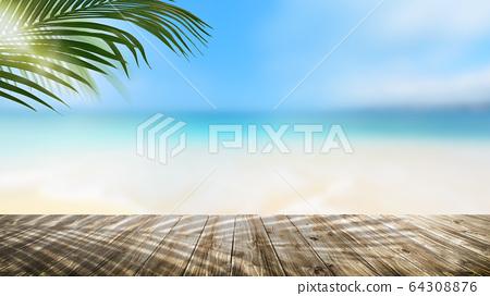 背景夏天海沙滩风景图片 64308876