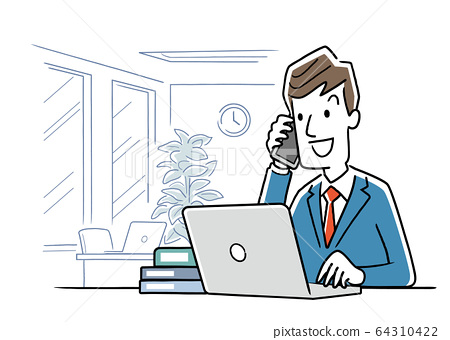 Stock illustration: a young man who uses a computer to work in the office 64310422