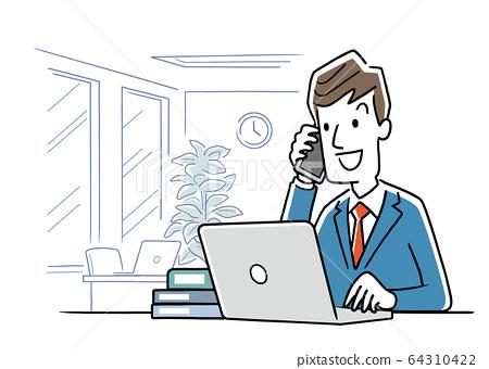 일러스트 소재 : 사무실에서 컴퓨터를 사용하여 작업을하는 젊은 남성 64310422