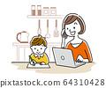 일러스트 소재 : 아이 옆에서 컴퓨터를 사용하는 젊은 여성 64310428