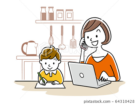 Illustration material: Young woman using a computer beside a child 64310428