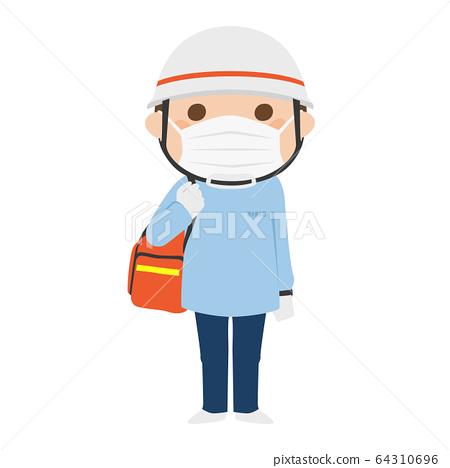 戴著一個醫療面具的一名男性醫務人員的例證。 64310696