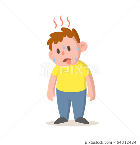 Sweating boy feeling hot, high temperature, hot weather. Cartoon character design. Flat vector illustration, isolated on white background. 64312424