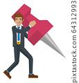 Business Man Holding Thumb Tack Pin Mascot Concept 64312993