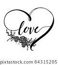 "Vector freehand typography. letters ""love"" in heart shape made on black color on the white background. Design for poster, greeting card, photo album, banner, valentines day and wedding. 64315205"