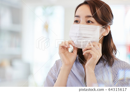 Business woman with mask Japanese woman 64315617