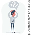 Handsome young business man in modern holding head with his hands, isolated over background. Concept 64316196