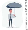 Businessman with an umbrella 64316208