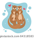 Cartoon Color Characters Otter Couple Set. Vector 64318583