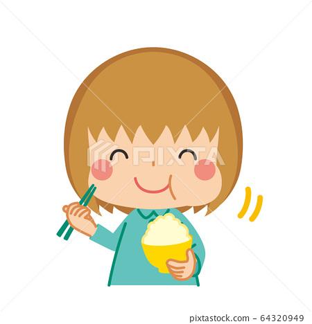 小女孩美味地吃米飯 64320949