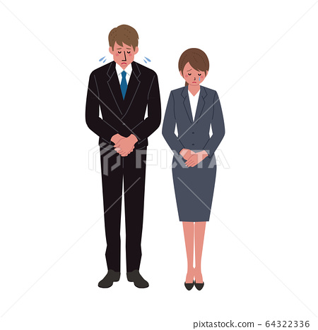 Illustration of businessman and businesswoman lowering their heads 64322336