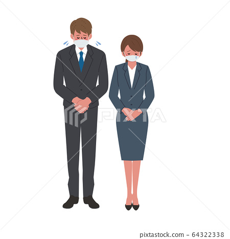 Illustration of a businessman in a mask a business woman 64322338