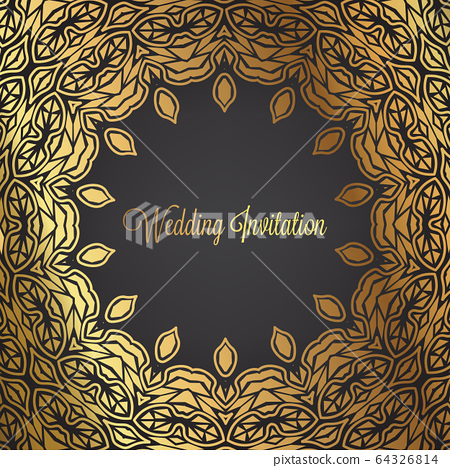 wedding invitation background. with golden and 64326814
